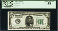 Fr. 1950-E $5 1928 Federal Reserve Note. PCGS Choice About New 58