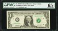 Low Serial Number 38 Fr. 1908-F $1 1974 Federal Reserve Note. PMG Gem Uncirculated 65 EPQ