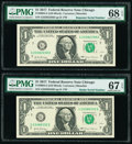 Small Size:Federal Reserve Notes, Radar 23388332 Fr. 3004-G $1 2017 Federal Reserve Note. PMG Superb Gem Unc 67 EPQ;. Repeater 23382338 Fr. 3004-G $1 2017 F... (Total: 2 notes)