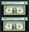 Small Size:Federal Reserve Notes, Radar 04099040 Fr. 3004-E $1 2017 Federal Reserve Note. PMG Superb Gem Unc 67 EPQ;. Serial 03988903 Fr. 3004-E $1 2017 Fed... (Total: 2 notes)