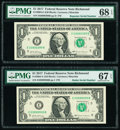 Small Size:Federal Reserve Notes, Radar 03999930 Fr. 3004-E $1 2017 Federal Reserve Note. PMG Superb Gem Unc 67 EPQ;. Repeater 03990399 Fr. 3004-E $1 2017 F... (Total: 2 notes)