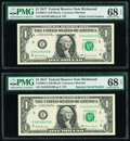 Small Size:Federal Reserve Notes, Radar 04100140 Fr. 3004-E $1 2017 Federal Reserve Note. PMG Superb Gem Unc 68 EPQ;. Repeater 04100410 Fr. 3004-E $1 2017 F... (Total: 2 notes)