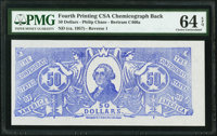 Confederate Chemicograph Fourth Printing Reverse 2 Back $50 circa 1957-58 Bertram C466b PMG Choice Uncirculated 64 EPQ...