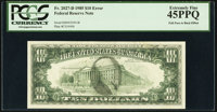 Full Face to Back Offset Error Fr. 2027-D $10 1985 Federal Reserve Note. PCGS Extremely Fine 45PPQ