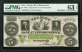 Obsoletes By State:New Jersey, New Brunswick, NJ- State Bank at New-Brunswick $5 18__ Remainder PMG Choice Uncirculated 63 EPQ.. ...