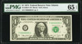 Low Serial Number 55 Fr. 1908-F $1 1974 Federal Reserve Note. PMG Gem Uncirculated 65 EPQ