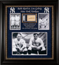 Baseball Collectibles:Others, Early 1930's Babe Ruth & Lou Gehrig Signed Cut Signature D...