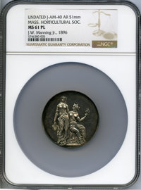 Undated Massachusetts Horticultural Society, J-AM-40, MS61 Prooflike NGC. Silver, 51 mm. The central reverse is professi...