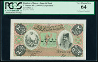 Iran Kingdom of Persia, Imperial Bank 2 Tomans ND (1890-1923) Pick 2s Specimen PCGS Very Choice New 64