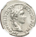 Ancients:Roman Imperial, Ancients: Augustus (27 BC-AD 14). AR denarius (20mm, 3.72 gm, 5h). NGC XF★ 5/5 - 4/5....