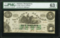 Montgomery, AL- State of Alabama $5 Jan. 1, 1864 Cr. 15 PMG Choice Uncirculated 63 EPQ