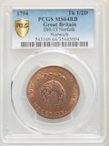 Norfolk. Norwich copper 1/2 Penny Token 1794 MS64 Red and Brown PCGS
