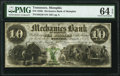 Obsoletes By State:Tennessee, Memphis, TN- Mechanics Bank of Memphis $10 Mar. 1, 1855 G8l PMG Choice Uncirculated 64 EPQ.. ...