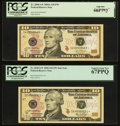 Small Size:Federal Reserve Notes, $10 Federal Reserve Notes.. Fr. 2039-A* 2004A PCGS Gem New 66PPQ;. Fr. 2040-G* 2006 PCGS Superb Gem New 67PPQ;. Fr... (Total: 5 notes)