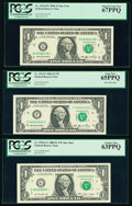 $1 Federal Reserve Notes. Fr. 1932-B* 2006 PCGS Superb Gem New 67PPQ; Fr. 1933-F 2006 PCGS Gem New 65PPQ; Fr. 1... (Tota...
