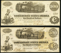 T40 $100 1862 Two Examples Very Fine-Extremely Fine or Better. ... (Total: 2 notes)