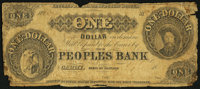 Carmi, IL- Peoples Bank $1 circa 1850s Good
