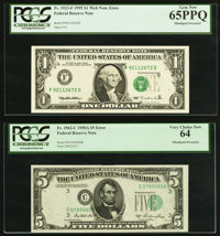 Misaligned Overprint Fr. 1923-F $1 1995 Federal Reserve Web Note. PCGS Gem New 65PPQ; Misaligned Overprint Fr. 1962-C $5...