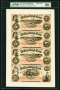 Obsoletes By State:New Jersey, Phillipsburgh, NJ- Phillipsburgh Bank $5-$5-$5-$10 18__ G8a-G8a-G8a-G10a Uncut Proof Sheet PMG Gem Uncirculated 66 EPQ....