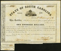 Charleston, SC- State of South Carolina $100 Jan. 1, 1861 Cr. 60A Bond Remainder Extremely Fine