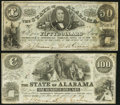 Montgomery, AL- State of Alabama $50; $100 Jan. 1, 1864 Very Fine or Better. ... (Total: 2 notes)