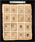 Colonial Notes:Delaware, Delaware January 1, 1776 4s-5s-6s-10s Uncut Sheet PMG Very Fine 25.. ...