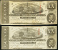 Confederate Notes:1863 Issues, T58 $20 1863 Two Examples Very Fine or Better.. ... (Total: 2 notes)