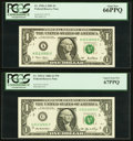Small Size:Federal Reserve Notes, Matching Serial Number 21112221.. Fr. 1926-A $1 2001 Federal Reserve Note. PCGS Gem New 66PPQ;. Fr. 1933-C $1 2006 Fed... (Total: 2 notes)