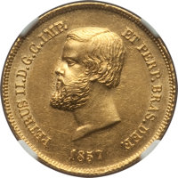 Brazil: Pedro II gold 5000 Reis 1857 UNC Details (Cleaned) NGC