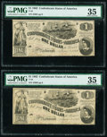 T44 $1 1862 PF-1 Cr. 339 Two Consecutive Examples PMG Choice Very Fine 35. ... (Total: 2 notes)