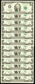 Complete District Set Single Star Note Fr. 1937-A*-L* $2 2003 Federal Reserve Star Notes. Crisp Uncirculated or Better...