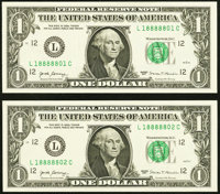 Matching Serial Number $1 and $5 Federal Reserve Note Pairs Gem Crisp Uncirculated. Serial 18888801 Fr. 3004-L $1 2017;...