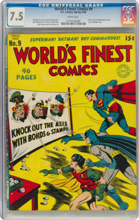World's Finest Comics #9 (DC, 1943) CGC VF- 7.5 White pages