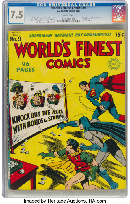 World's Finest Comics #9 (DC, 1943) CGC VF- 7.5 White pages....