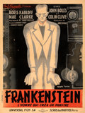 "Movie Posters:Horror, Frankenstein (Universal, 1932). Fine/Very Fine on Linen. French Grande (46.75"" X 62.5"") Jacques Faria Artwork.. ..."