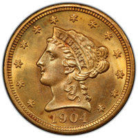 1904 $2 1/2 MS65 PCGS. PCGS Population: (517/304 and 4/21+). NGC Census: (465/319 and 10/24+). CDN: $690 Whsle. Bid for...
