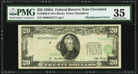 Shifted Third Printing Error Fr. 2060-D $20 1950A Federal Reserve Note. PMG Choice Very Fine 35