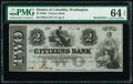 Obsoletes By State:District of Columbia, Washington, DC- Citizens Bank $2 Oct. 1, 1852 G4 Remainder PMG Choice Uncirculated 64 EPQ.. ...