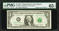 Radar Serial Number 98777789 Fr. 1908-A $1 1974 Federal Reserve Note. PMG Gem Uncirculated 65 EPQ