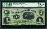 Cumberland, MD- Allegany County Bank $10 Nov. 7, 1862 G8d PMG Choice About Unc 58 EPQ*