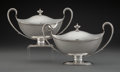 Silver & Vertu, A Pair of Samuel Godbehere & Edward Wigan Silver Covered Sauce Tureens, London, 1792. Marks to each: (lion passant), (crowne... (Total: 2 )