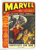 Golden Age (1938-1955):Science Fiction, Marvel Stories Nov. 1940 (V2#2) (Red Circle, 1940) Condition: VG-.J. W. Scott cover art. Full page black and white 6-panel ...