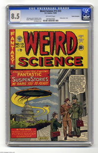 Weird Science 13 (#2) Cosmic Aeroplane pedigree (EC, 1950) CGC VF+ 8.5 Off-white pages. Al Feldstein's UFO cover is this...