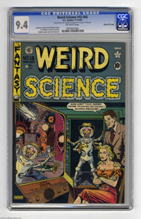 Weird Science #15 (#4) Gaines File pedigree (EC, 1950) CGC NM 9.4 Off-white pages. Al Feldstein did a memorable takeoff...