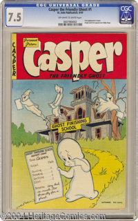 Casper the Friendly Ghost #1 (St. John, 1949) CGC VF- 7.5 Off-white to white pages. Here's a milestone for you: the firs...