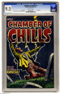 "Golden Age (1938-1955):Horror, Chamber of Chills #17 (Harvey, 1953) CGC NM- 9.2 Off-white pages.Even if you don't have ""Amnesia!"" it's easy to forget that..."