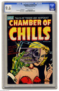 Golden Age (1938-1955):Horror, Chamber of Chills #19 (Harvey, 1953) CGC NM+ 9.6 Cream to off-whitepages. The lady on the cover is flirting with death! And...