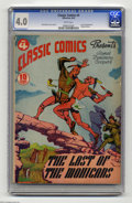 Golden Age (1938-1955):Classics Illustrated, Classic Comics #4 The Last of the Mohicans (Gilberton, 1942) CGC VG4.0 White pages. Original edition. Overstreet 2004 VG 4....
