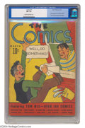 Golden Age (1938-1955):Cartoon Character, The Comics #1 (Dell, 1937) CGC FN- 5.5 Cream to off-white pages.Tom Mix, King of the Cowboys, made his first comic book app...