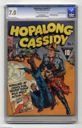 "Golden Age (1938-1955):Western, Hopalong Cassidy #1 File Copy - Crowley pedigree (Fawcett, 1943)CGC FN/VF 7.0 Cream to off-white pages. Hopalong Cassidy, ""..."